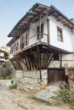 L'architettura Melnik di legno e della pietra in Bulgaria Fotografie Stock