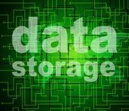 L'archiviazione di dati rappresenta la tecnologia e la limatura di byte Immagine Stock Libera da Diritti