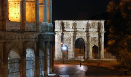L'arco di Costantina alla notte, Roma, Italia Fotografia Stock