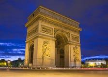 L'Arco di Trionfo a Parigi Fotografie Stock Libere da Diritti