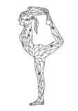 L'arco diritto indietro piega 1 vettore di chakra di posa 7 di yoga della gamba disegnato a mano illustrazione vettoriale
