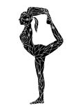 L'arco diritto indietro piega 1 vettore di chakra di posa 7 di yoga della gamba disegnato a mano royalty illustrazione gratis