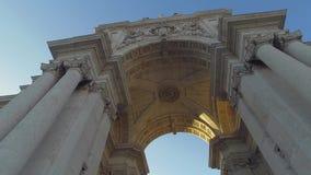 L'arco famoso ad Augusta Street a Lisbona video d archivio