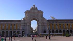 L'arco famoso a Lisbona ha chiamato 14 giugno 2017 Arca da Rua Augusta al quadrato di Comercio - LISBONA/PORTOGALLO - video d archivio