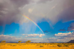 L'arcobaleno sopra il deserto Fotografia Stock