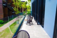L'area di seduta sul terrazzo Immagine Stock