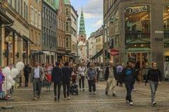 L'area pedonale di Stroget, Copenhaghen fotografia stock