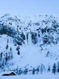 L'arena rampicante del ghiaccio famoso della valle di Sertig nelle alpi svizzere Immagini Stock