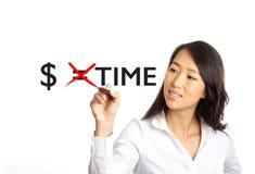 L'argent égale le concept de temps Photos stock