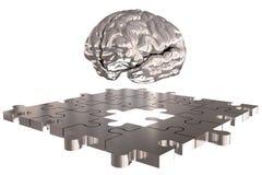L'argent absent de cerveau de morceau de puzzle Image libre de droits