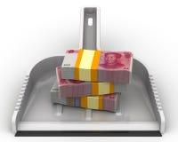 L'argent aiment des déchets Le concept financier de la dévaluation de la devise chinoise Photos stock