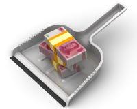 L'argent aiment des déchets Le concept financier de la dévaluation de la devise chinoise Photographie stock