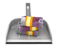 L'argent aiment des déchets Le concept financier de la dévaluation de la devise européenne Image libre de droits