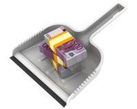 L'argent aiment des déchets Le concept financier de la dévaluation de la devise européenne Photo libre de droits