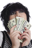 l'argent comptant retient la femme Photos stock