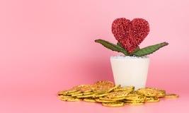 L'argent d'or fait la fleur d'amour élève le concept Photo libre de droits