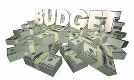 L'argent de budget finance la dépense Word d'argent liquide Photo libre de droits