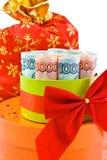 L'argent de convolve dans un cadre de cadeau Images libres de droits