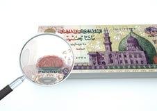 l'argent de l'Egypte rendu par 3D avec la loupe étudient la devise sur le fond blanc Photographie stock libre de droits