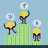 L'argent de pièce de monnaie obtiennent se rangent le premier deuxième troisième Illustration Stock