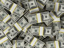 L'argent horizontal des 100 dollars divise en lots le fond illustration 3D Images stock