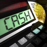 L'argent liquide calculé montre le revenu et la dépense d'argent illustration stock