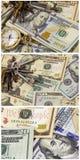 L'argent liquide de banque de fond affiche la montre squelettique de clés de maison Photo libre de droits