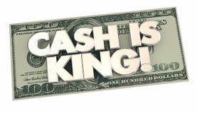 L'argent liquide est le Roi Money Words 100 cent billet d'un dollar Image libre de droits