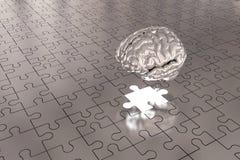 L'argent plat absent de cerveau de morceau de puzzle Photo stock