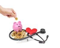 L'argent plus âgé d'économie pour des soins de santé Images stock