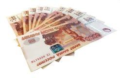 L'argent russe a éventé, les 5 millième notes photo libre de droits