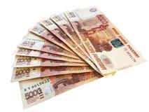 L'argent russe a éventé, les 5 millième notes photo stock