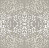L'argent sans couture a détaillé des fleurs de dentelle et les feuilles wallpaper illustration de vecteur