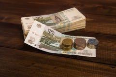 L'argent sur la table image stock