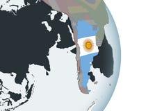 L'Argentina con la bandiera sul globo illustrazione di stock