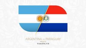 L'Argentina contro il Paraguay, gruppo B della concorrenza di calcio illustrazione vettoriale