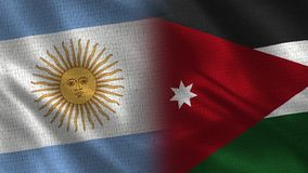 L'Argentina e Jordan Realistic Half Flags Together fotografie stock