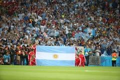 L'Argentina e la GERMANIA un calcio di 2014 coppe del Mondo Immagini Stock