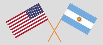 L'Argentina e U.S.A. Le bandiere degli Stati Uniti d'America e dell'argentino Colori ufficiali Proporzione corretta Vettore royalty illustrazione gratis