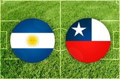 L'Argentine contre le match de football du Chili photos libres de droits
