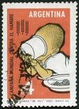 L'ARGENTINE - 1963 : enfant d'expositions vidangeant la tasse, absence de la FAO de campagne de faim image libre de droits