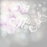L'argento del fondo di festa del giorno di biglietti di S. Valentino accende Fotografia Stock Libera da Diritti