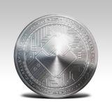 L'argento ondeggia la moneta isolata sulla rappresentazione bianca del fondo 3d Immagini Stock