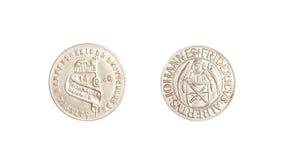 L'argento tedesco dell'annata 1436 delle monete ha isolato il fridericus degli iohannes Fotografia Stock Libera da Diritti