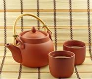 L'argilla ha impostato con tè verde Immagini Stock