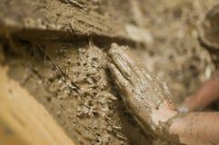 L'argilla sta riempiendo l'area dei fingerFotografia Stock Libera da Diritti