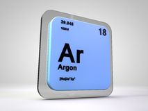 L'argon - AR - table périodique d'élément chimique Photographie stock