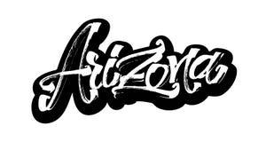 l'arizona autoadesivo Iscrizione moderna della mano di calligrafia per la stampa di serigrafia Immagini Stock