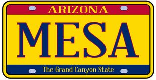 L'Arizona Mesa State License Plate illustration stock