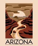 l'arizona Paysage tiré par la main de vecteur de désert d'isolement illustration libre de droits